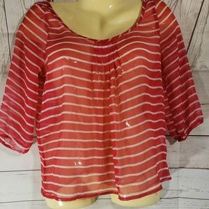 2 for 15 Hollister Pink Striped Sheer Top